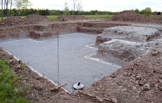 Excavated layout for a new home basement foundation